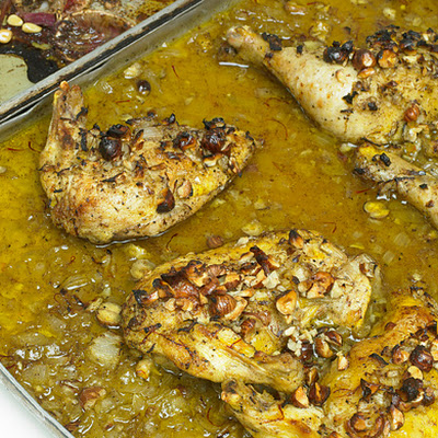 Roast Chicken with Saffron, Hazelnuts, and Honey