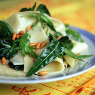 Pappardelle Over Wilted Asian Greens