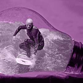 In Its Own Bulb! by Marco Bertamé - Digital Art People ( water, purple, surfer, surfboard, waves, bulb, light bulb,  )