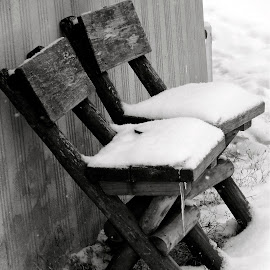Us two by Oana Nedelcu - Artistic Objects Furniture ( loneliness, chairs, snow, Chair, Chairs, Sitting )