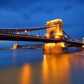 Chain Bridge by Matej Kováč - Buildings & Architecture Bridges & Suspended Structures ( budapest, chain, bridge, architecture, city, , blue, orange. color )