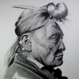Hoop on Forehead by Sherri Reyna - Drawing All Drawing ( black and white, art, indian, crow, drawing, historic, artwork, native american, pencil, graphite, southwest, historical, portraits )
