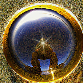 Selfie in sand by Gaylord Mink - People Street & Candids ( selfie, sand, bubble, reflection, photographer )