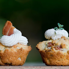 Mini Bacon Herb Cupcakes with Cream Cheese Frosting