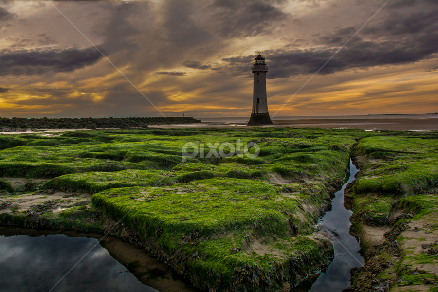 New Brighton by Marek Saj - Landscapes Weather ( clouds, water, undergrowth, seaweed, beautiful, lighthouse, weather, outflow, dread, rocks, colours,  )