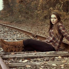 Train Tracks by Hayley Langan - People Portraits of Women ( train tracks, autumn, plaid, fall, leaves, boots )
