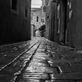 old street by Eseker RI - City,  Street & Park  Street Scenes (  )