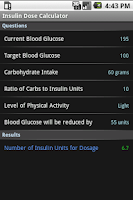 Screenshot of Insulin Dose Calculator