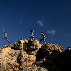 The Jump. by Matthew Gibney - Digital Art People ( water, rafina, cliff jumping, europe, aegean sea, cliff, greece )