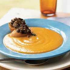 Yellow Pepper Soup with Wild Mushroom Croutons