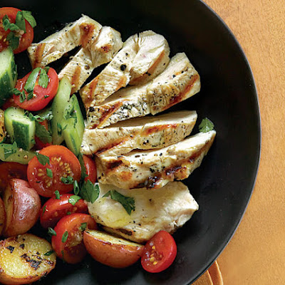 Grilled Chicken and Potatoes with Tomato and Cucumber Salad