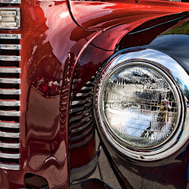 Crimson and Black by Lawrence Burry - Transportation Automobiles ( headlamp, abstract, vintage auto, pickup, oklahoma, chrome grill, contemporary, classic auto, vintage car, reflections, sapulpa, route 66 blowout,  )