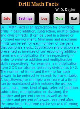 Drill Math Facts