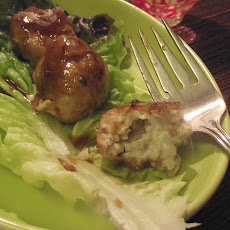 Gorgonzola & Walnut Stuffed Chicken Meatballs with Plummy sauce