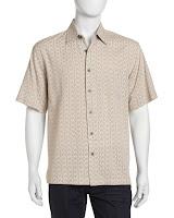 Neiman Marcus Swirl-Print Sport Shirt, Pebble