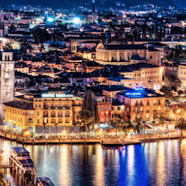 Golden City  by Daniel Iacob - Buildings & Architecture Homes ( riva del garda, color, beautiful, lakes, lake, long exposure, night, landscape, nikon, gardase, italy, Urban, City, Lifestyle )