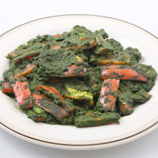 Indian Cheese and Red Peppers in Fragrant Spinach Sauce
