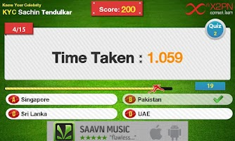 Screenshot of Howzzat! Sachin Cricket Quiz