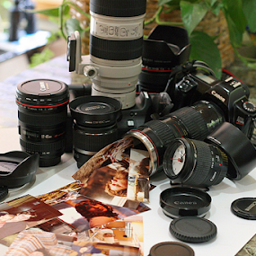 Cameras and Lenses by Bill Waterman - Artistic Objects Still Life ( indoor, lenes, still life, lens cap, photo, cameras, camera, lens, object )