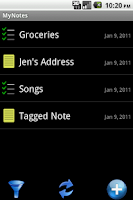 Screenshot of MyNotes