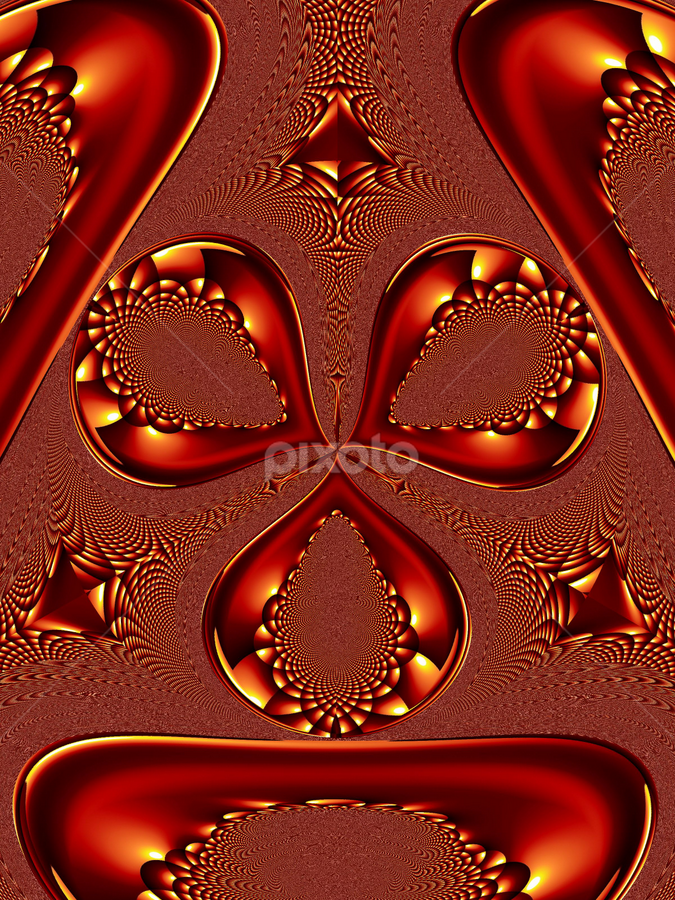 Abstract of Threes by Tina Dare - Illustration Abstract & Patterns ( curves, triple, shapes, patterns, copper, amber, abstract, designs )