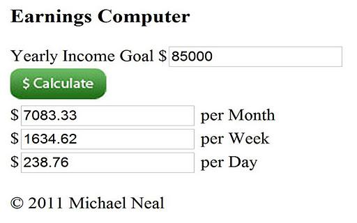 Income Goal Calculator