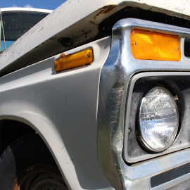 eye see you by Kimberly Mehrer - Transportation Automobiles ( long ago, sky, headlight, unused, ford truck )
