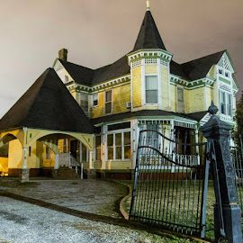 Spooky Old House by Jesse Culver - Buildings & Architecture Homes ( old house, wrought iron fence, spooky, wrought iron gate, long exposure )