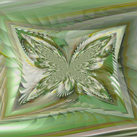 FWL 4 - Butterfly in Motion by Tina Dare - Digital Art Abstract ( abstract, butterfly, greens, patterns, designs, manipulated, distorted, fractal, motion, shapes )