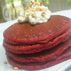 Red Velvet Pancakes With Mascarpone Glaze