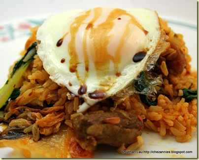 kimchee fried rice with easy over egg and kecap manis