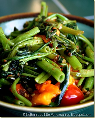Kangkung belacan with tomato
