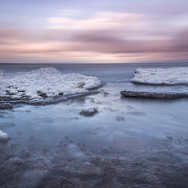 Snow & Water by Julija Moroza Broberg - Landscapes Waterscapes ( iceberg, beach, jurmala, planet, icewater, nature, cold, ice, snow, shoreline, empty, perspective, convex, seashore, low perspective, shallow, horizon, sea, canvas, seascape, latvia, print, magic, winter, horizontal, lanscape, softness )