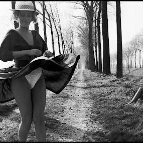 Saxdance by Etienne Chalmet - Black & White Street & Candid ( field, girls, sexy, street, outdoor, sax, upskirt,  )