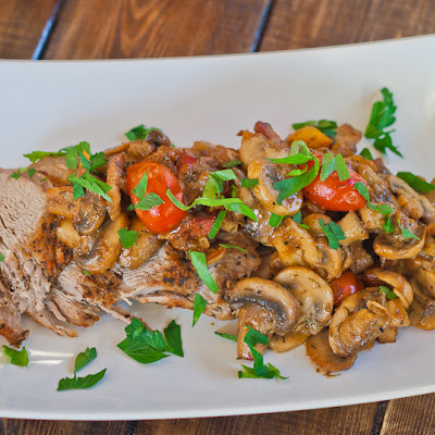 Pork Loin with Mushroom and Bacon Ragu