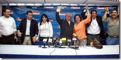 Caracas,13/05/08-Acto de presentacion de los candidatos del partido Un Nuevo Tiempo el presidente del partido Omar Barboza dio a conocer los nombres de todos los aspirantes a las gobernaciones y alcaldia del pais en la grafica los candidatos de las alcaldias del Distrito Capital (Caracas) de izquierda a derecha: Stalin Gonzalez(Libertador), Gerardo Blyde(Baruta) Delsa Solorsano(El Hatillo), el presidente del partido Omar Barboza, Liliana Hernandez(Chacao) y Willian Ojeda(Sucre), Jose Luis farias para la gobernacion del estado Vargas. FOTO: NEWS FLASH JC.