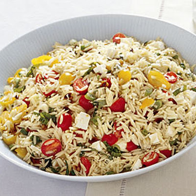 Orzo with Tomatoes, Feta, and Green Onions