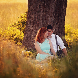 Warmth  by Shelby Waltz - People Couples ( love, sunset, engaged, couple, wonderful )