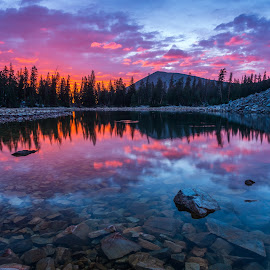 Origin by Mike Lindberg - Landscapes Mountains & Hills ( national park, reflection, nevada, sunrise, baker lake, morning, great basin national park, great basin )
