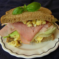 Open-Faced Sandwich Ham and Boiled Egg With Chives