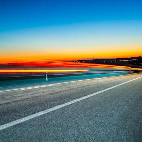 Quiet Alentejo! by José Borges - Landscapes Travel ( red, blue, sunshine, road, light ray,  )