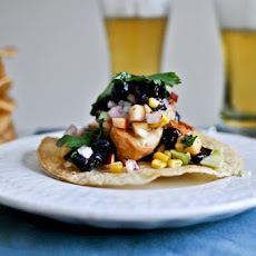 Sweet + Spicy Glazed Chicken, Corn + Avocado Tostadas