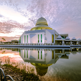 The Morning Light by Syazwan Shahril - Buildings & Architecture Places of Worship ( muslim, water, reflection, sky, grass, mosque, cloud, pebbles, lake, sunrise, morning )