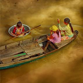 Children Rowing Boats by Ferdinand Ludo - Babies & Children Children Candids ( children rowing boats, tonle sap lake, cambodia,  )