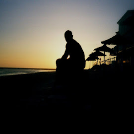 Solace by Michael Griffin - People Street & Candids ( silohuette, sunset, rota, beach, spain )