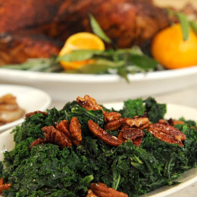 Brown Butter Kale with Maple-Molasses Pecans and Dried Cranberries