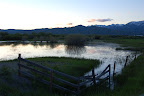 Pond, fence, cloud reflection - near Fairfield, Idaho