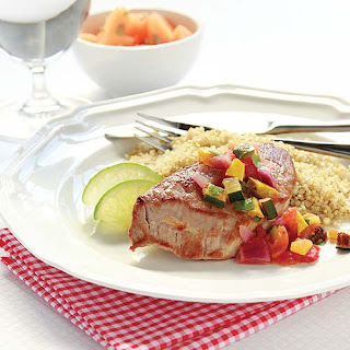 Pork Steaks with Roasted Summer Squash Salsa