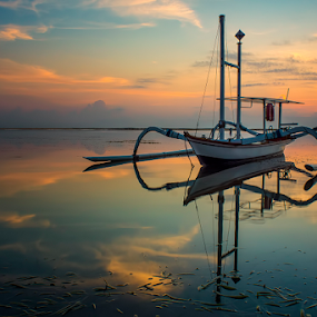 .;: colorful dawn ::. by Setyawan B. Prasodjo - Transportation Boats ( bali, colorful sky, sunset, twilight, beach, sunrise, boat, catamaran )