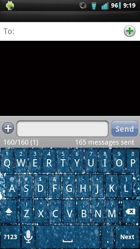【免費個人化App】Blue Glitter Keyboard Skin-APP點子